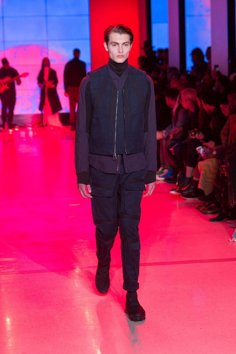 LOOK 14   ARC Undervest  / Navy French Twill   ARC Tactical Shirt  / Navy Ripstop   ARC Turtleneck  / Black Terry   ARC Tactical Pant  / Navy French Twill   Nike Air VaporMax Utility