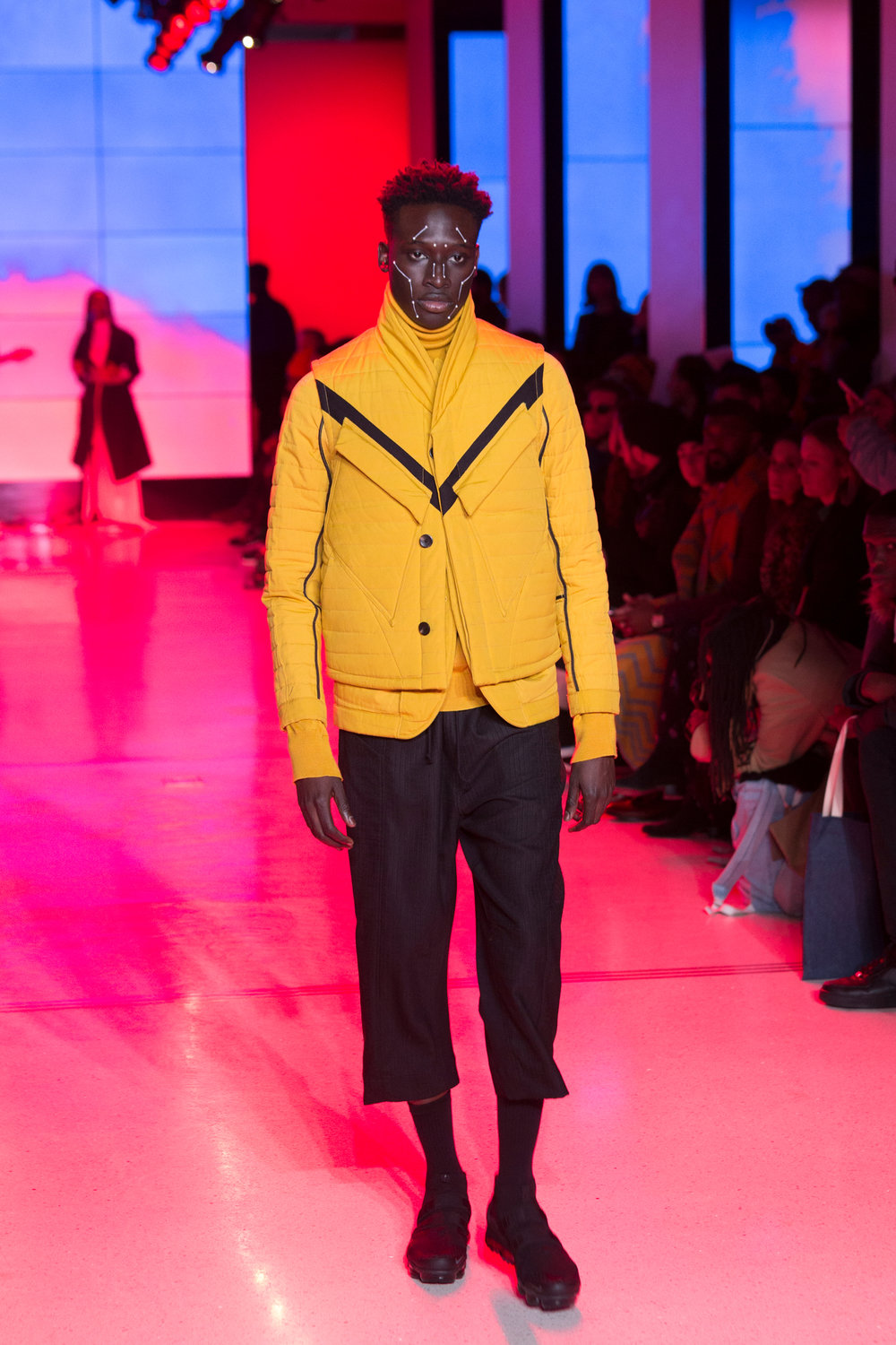 LOOK 28   ARC Oversize Scarf  / Rover Yellow   ARC Parka  / Rover Yellow   ARC Long Sleeve Tee  / Black   ARC Ankara Pant  / Black Wool   Nike Air VaporMax Utility