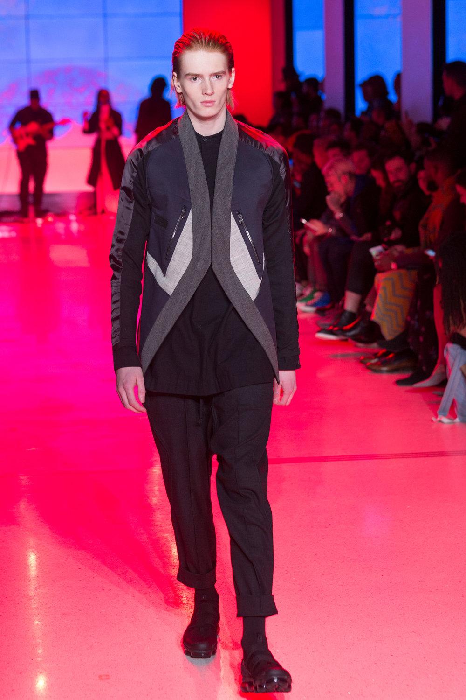 LOOK 6   ARC Jacket 5  (Worn inside out) / Black Wool   ARC Omega Shirt  / Black Flannel   ARC Ankara Pant  / Black Wool   Nike Air VaporMax Utility    .
