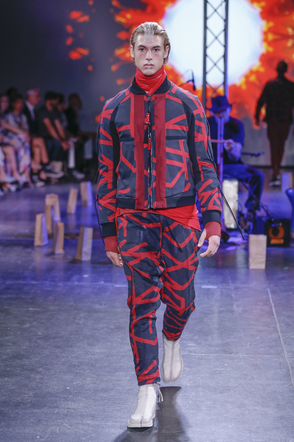 LOOK 22   ARC Flight Jacket  / Phantom Print   ARC Ankara Pant  / Phantom Print   ARC Apollo Tabi Boot   .  .