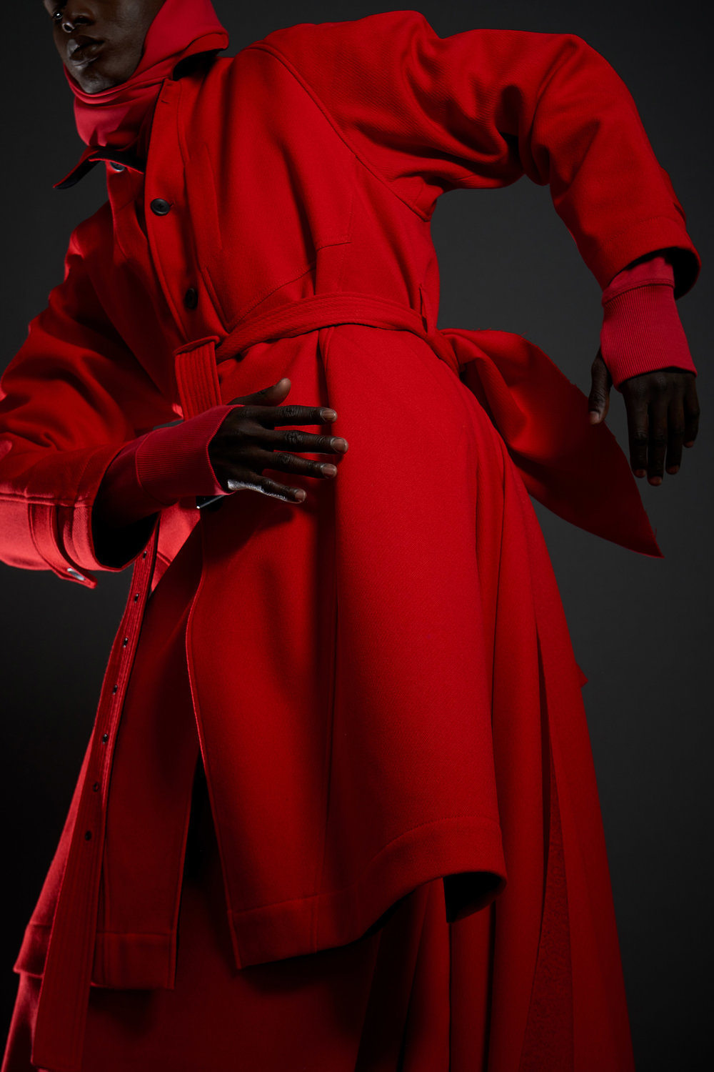 Look 15   ARC Overcoat  / Red Whipcord  .