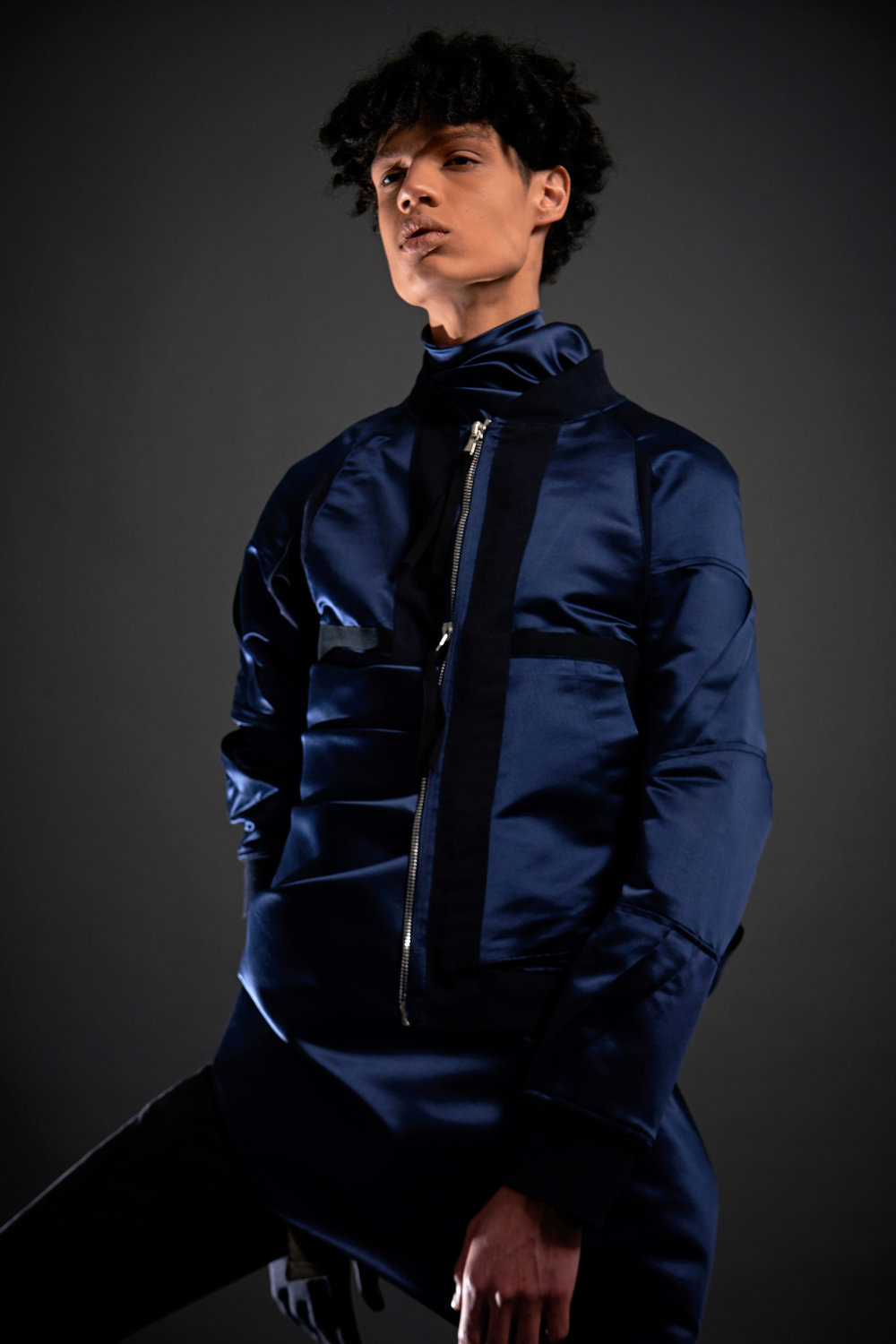 Look 2   ARC Flight Jacket  / Navy Silk