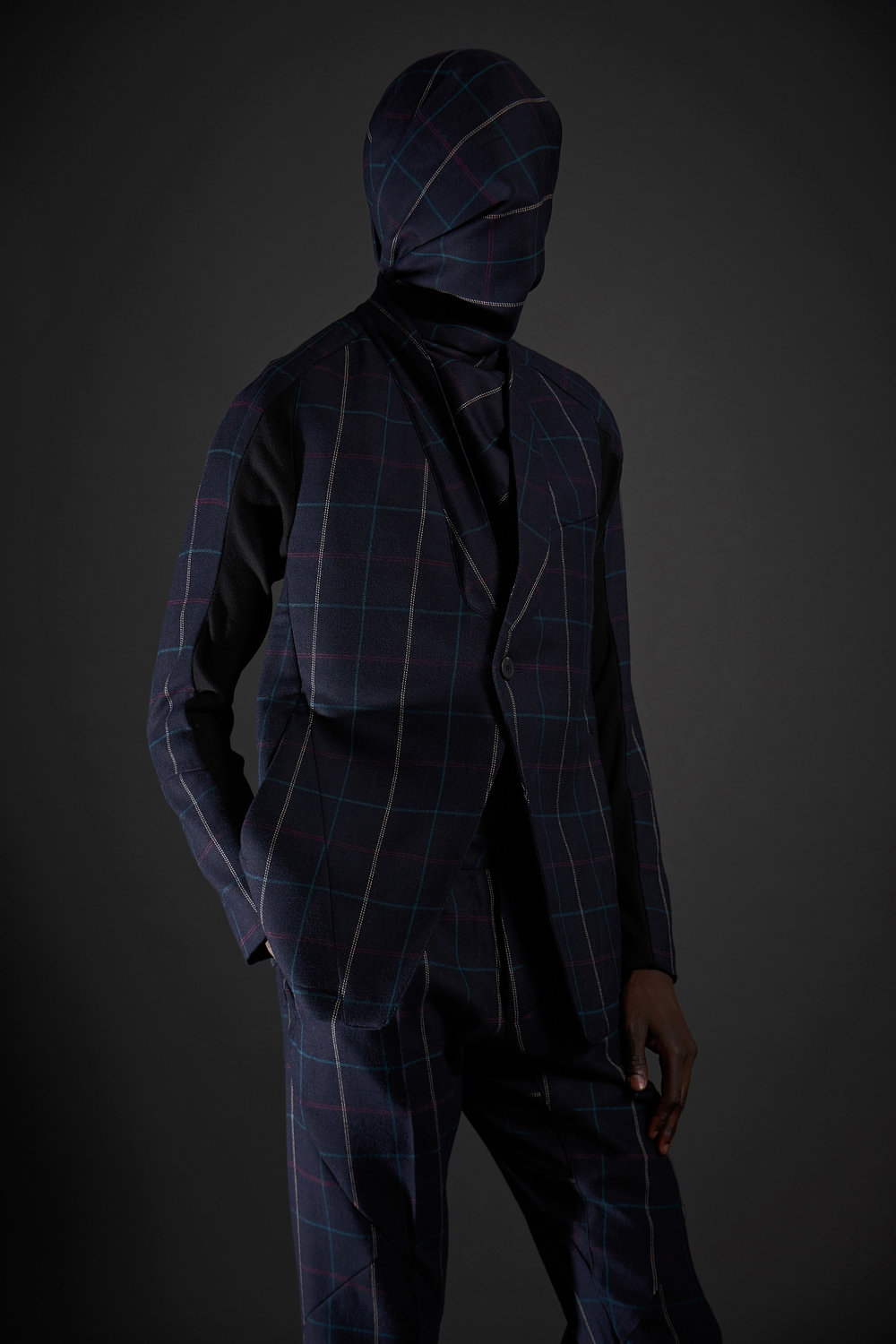 Look 12   ARC Jacket 6  / Navy Tartan   ARC Trouser  / Navy Tartan