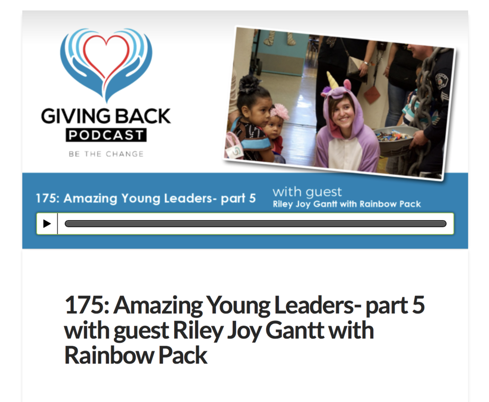 Click the image to hear the Giving Back Podcast interview with Riley about Rainbow Pack.