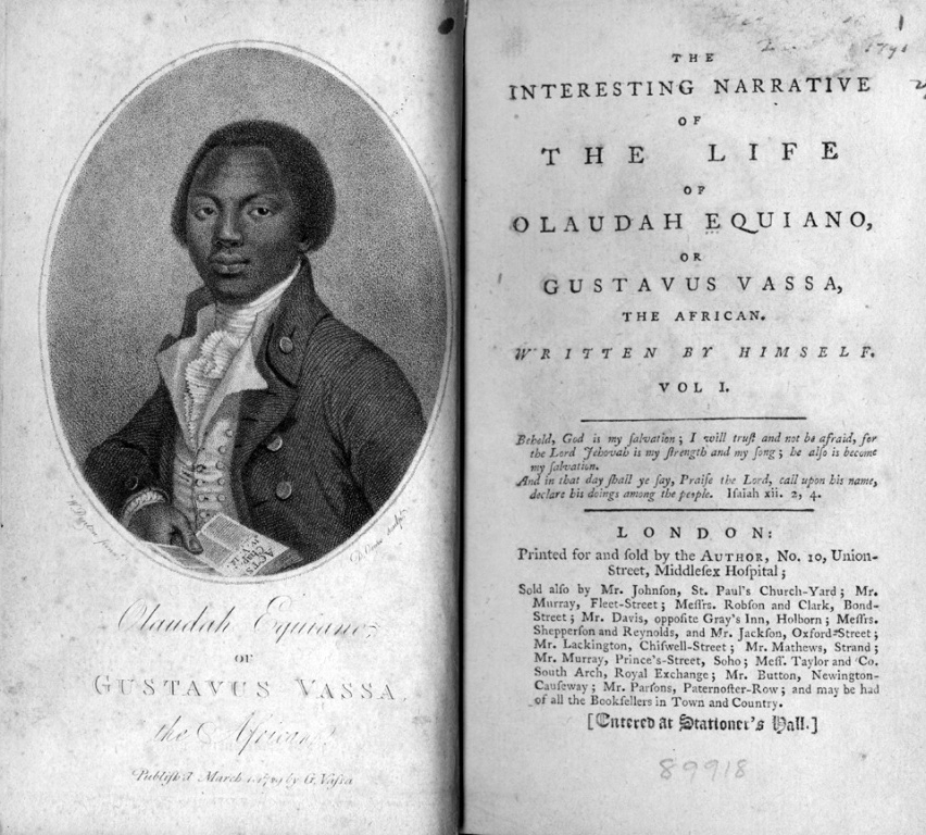 """Frontispiece and Title Page""   Olaudah Equiano. From The Interesting Narrative of the Life of Olaudah Equiano or Gustavus Vassa, the African,   1789. Image. Newberry LIbrary. Web. 27 September 2013."
