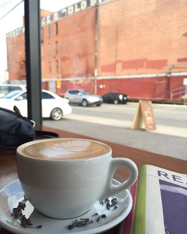 Lavender latte Saturday mornings @estatecoffeeco #coffee #lavender #latte #merchantsicehouse #sanantonio