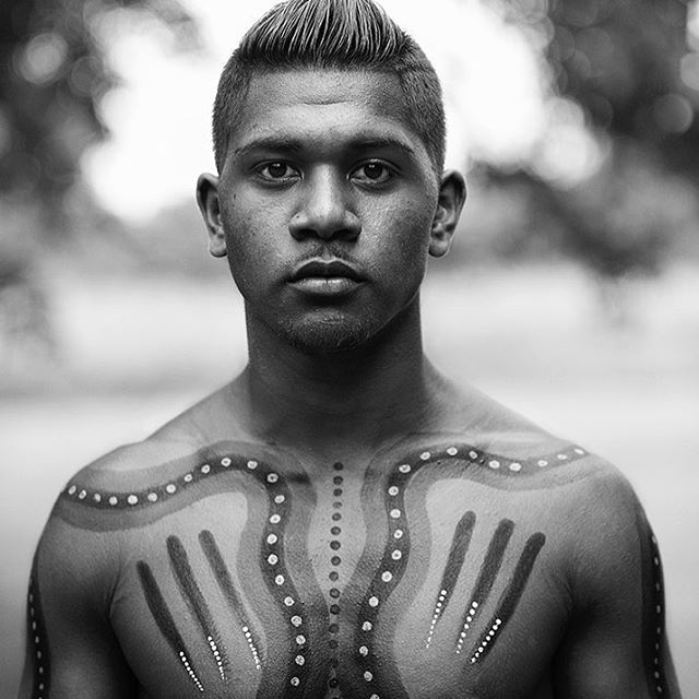 Portrait of boy from the Djabugay/Tjapukai people in the Tropics of Queensland.