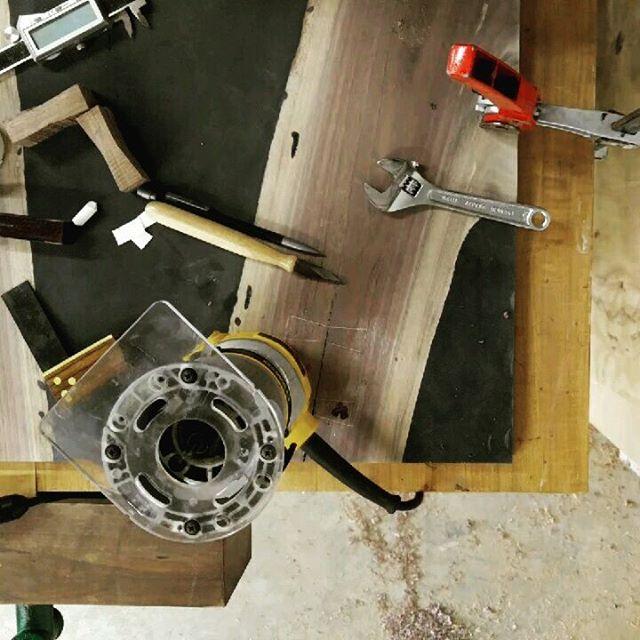 Putting in some bowties on the walnut and epoxy coffee table. #woodwork #woodworking #coffeetable #furniture #cincinnatiinteriordesigner #Cincinnati #Ohio #furnituredesign