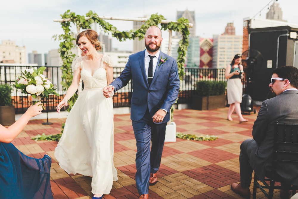 Greg Kristin Detroit Opera House Rooftop Wedding