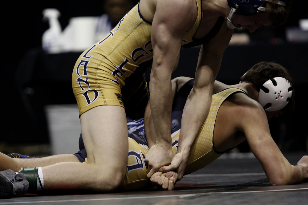 Austin Eicher of Hartland, top, maintains control over the arm of teammate Jacob Gorial during the state of Michigan Wrestling Championships on Saturday, Mar. 2, 2013 at The Palace of Auburn Hills.  Eicher won the Division 1, 130 pound weight class championship. TIM GALLOWAY