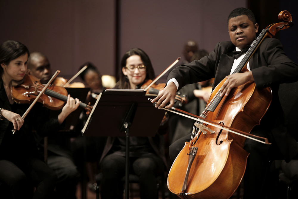 Sterling Elliott, 14, of Newport News, VA performs during the Junior Division Honors Concert on Friday, Feb. 21, 2014 at Orchestra Hall in Detroit. Tim Galloway for Al Jazeera America.