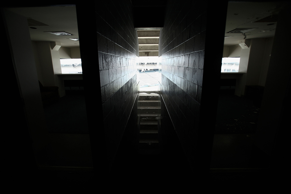 Water pools in the hallway between two box suites at the Pontiac Silverdome on Friday, May 9, 2014 in Pontiac. Tim Galloway for Al Jazeera America