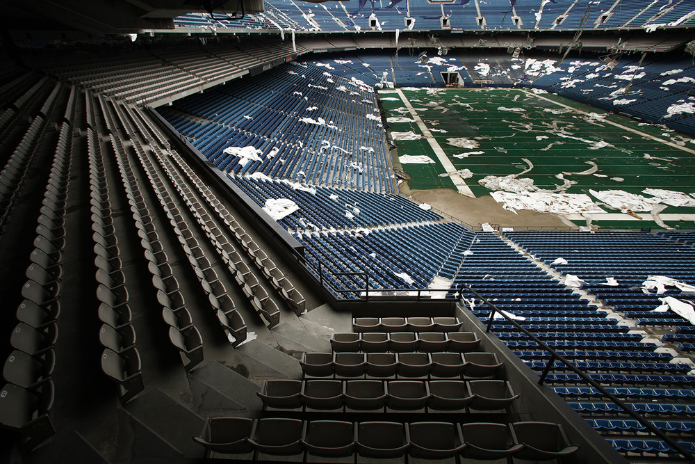 Debris from the roof litters the stands and playing field at the Pontiac Silverdome on Friday, May 9, 2014 in Pontiac. Tim Galloway for Al Jazeera America