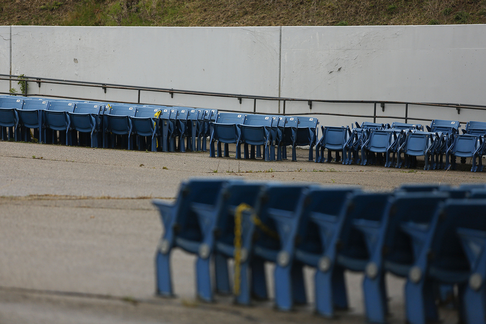 Relocated stadium seats line one of four entrances at the Pontiac Silverdome on Friday, May 9, 2014 in Pontiac. Tim Galloway for Al Jazeera America