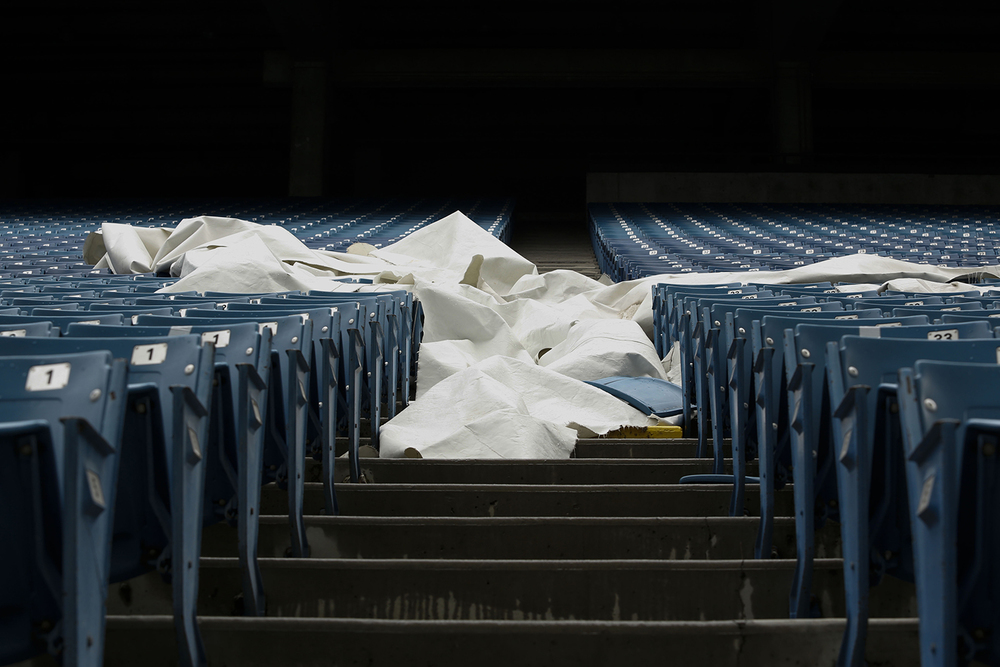 A section of the roof that has fallen spans across sections of seating at the Pontiac Silverdome on Friday, May 9, 2014 in Pontiac. Tim Galloway for Al Jazeera America