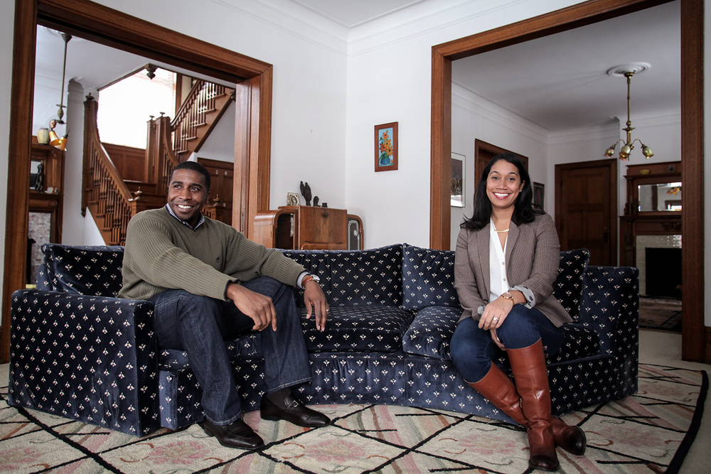 Ethan, left, and Meagan Dunn have their photo taken in their house in Woodward Village on Sunday, Feb. 8, 2015 in Detroit. Tim Galloway for TheWEIGH