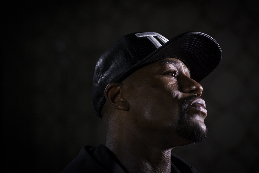Five-division boxing World Champion, Floyd Mayweather Jr. is interviewed before a press conference on Thursday, August 6, 2015 at the JW Marriott Hotel in Los Angeles. Mayweather won against Andre Berto for his final fight on Saturday, September 12, 2015 winning by unanimous decision.