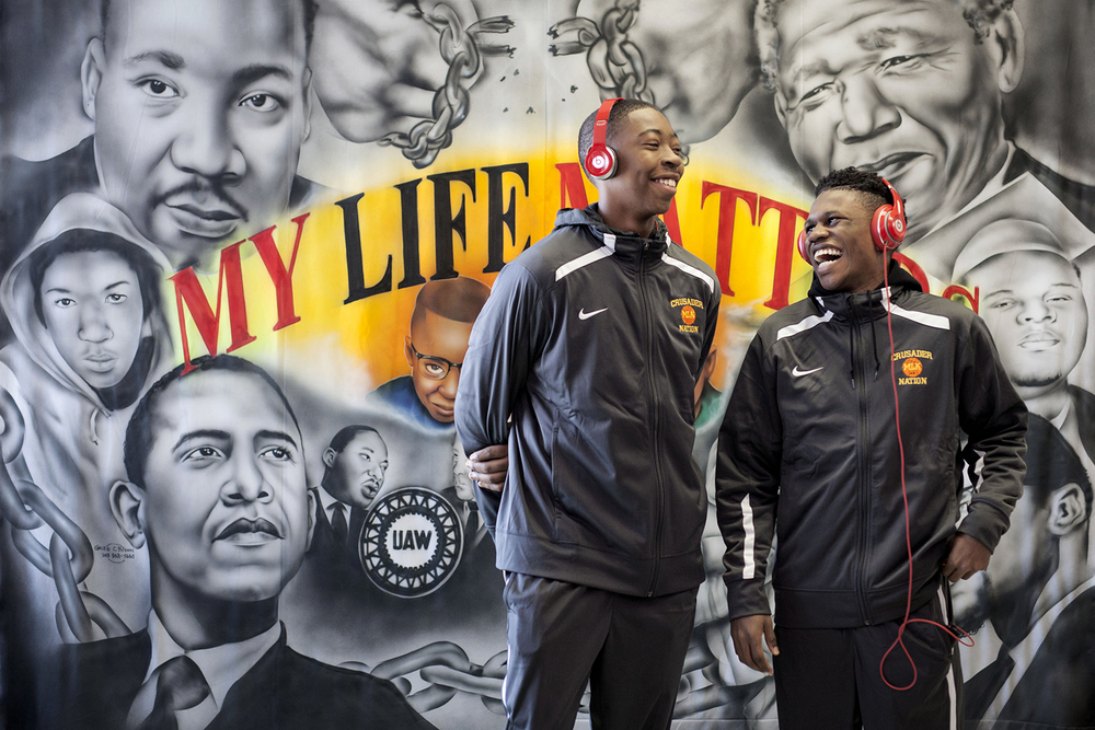 Kemon Bassett, 16, a Junior at Martin Luther King Jr. High School, left, and Jesse Scarber III, 16, also a Junior, have a laugh before the 7th Annual Martin Luther King Jr. Legacy March at Martin Luther King Jr. High School on Monday, Jan. 18, 2016 in Detroit. Bassett and Scarber shared the sentiment of importance of the march stating that it's a display of supporting one another and that it brings people together for a man that made history. Tim Galloway/Special for DetNews
