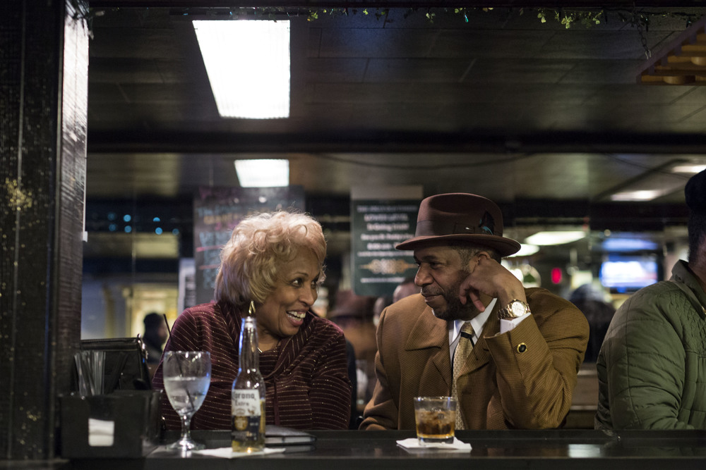 Sandra Caver, left, from Detroit and Robert Cliff, right, from Detroit have a close conversation due to the noise level at the Jolly Old Timers Club on Friday, Mar. 4, 2016 in Detroit. Caver and Cliff have known each other for thirty years and have been frequenting the club together. Tim Galloway/Special for DFP