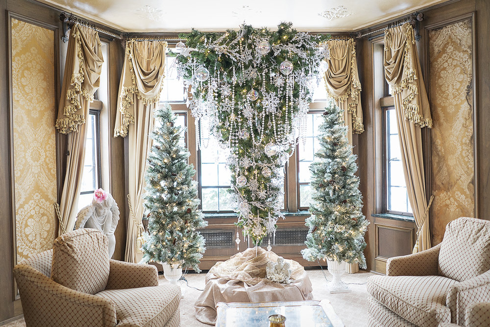 Flint, MI - Saturday, December 9, 2017: One of the main Christmas tree attractions, is the upside-down tree in the living room of the Heddy home.