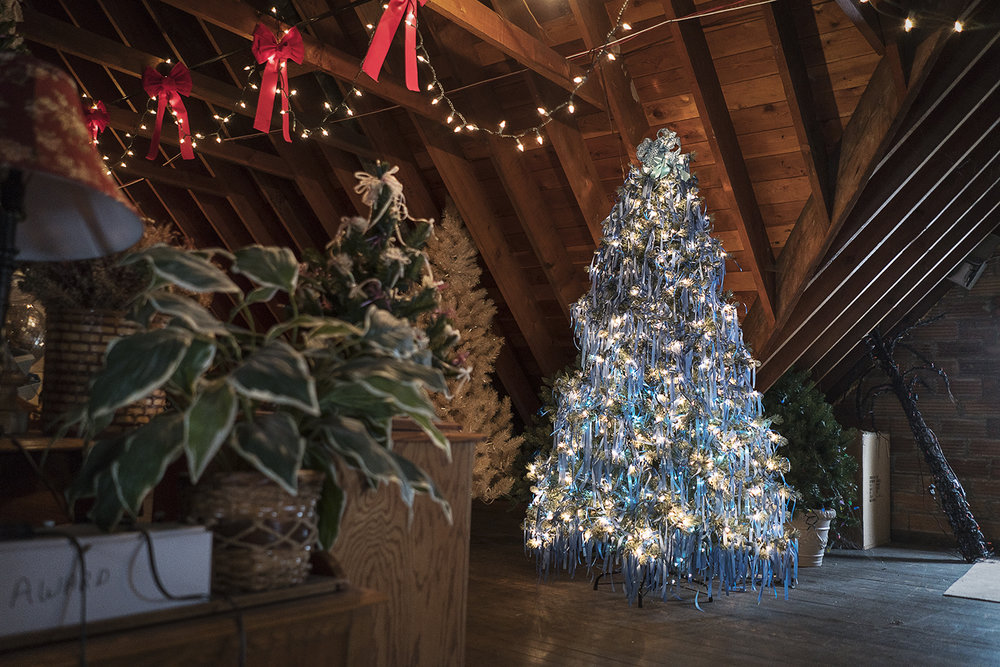 Flint, MI - Saturday, December 9, 2017: A tree adorned with 2,000 blue ribbons is illuminated in the attic of the Heddy home. Each ribbon on the tree represents a reported case of child abuse in the county for the year it was decorated. Each year the Heddy's generate, on average, $15,000 to donate to charities and college funds for youth and families in need.