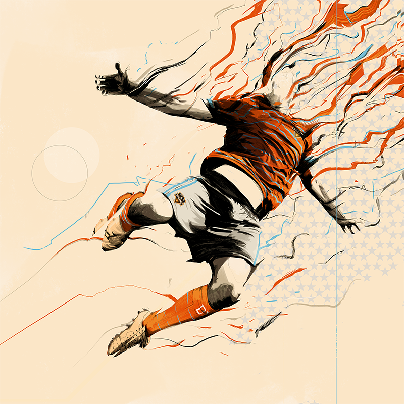 ORANGE FOREVER   - Houston Dynamo / Major League SoccerArtwork for The Houston Dynamo's kickoff event, showing the new uniform for 2017 and beyond.