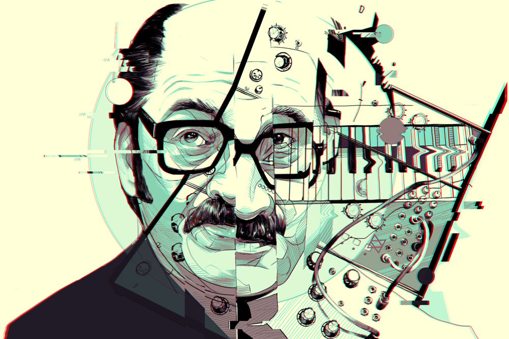 PIONEERS OF ELECTRONIC MUSIC - Red Bull Music AcademyA series of editorial illustrations for Red Bull Music Academy's feature on the driving forces that shaped electronic music. top: Mort Garson