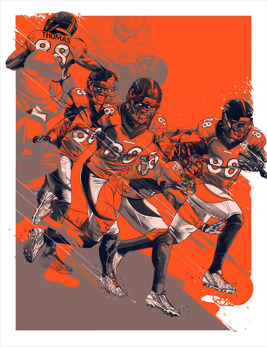 ILL SPEED:DEMARYIUS THOMAS - Under ArmourScreen-printed poster showcasing Under Armour's NFL cleats and gloves, endorsed by the Denver Broncos' Demaryius Thomas