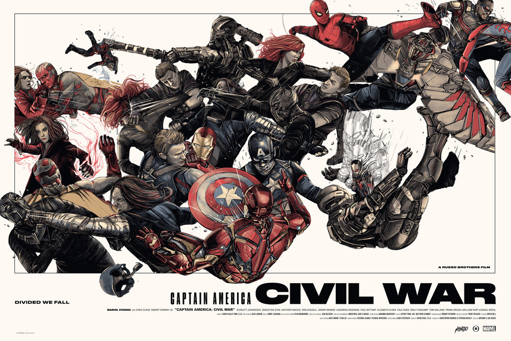 Captain America: Civil War - Marvel Studios / Mondolimited edition, screen-printed film poster from Marvel Studios' 10 year Anniversary celebration. regular edition, available in the shop