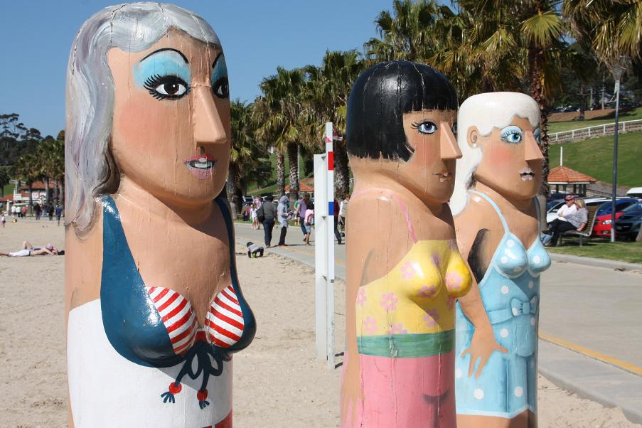 Geelong's famous bollard sculpture trail makes for a fantastic walk