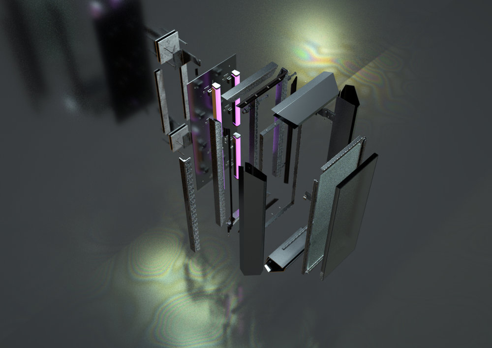 Exploded Axonometric Rendering of Different Hardware Components. Rhino3d and Octane Render