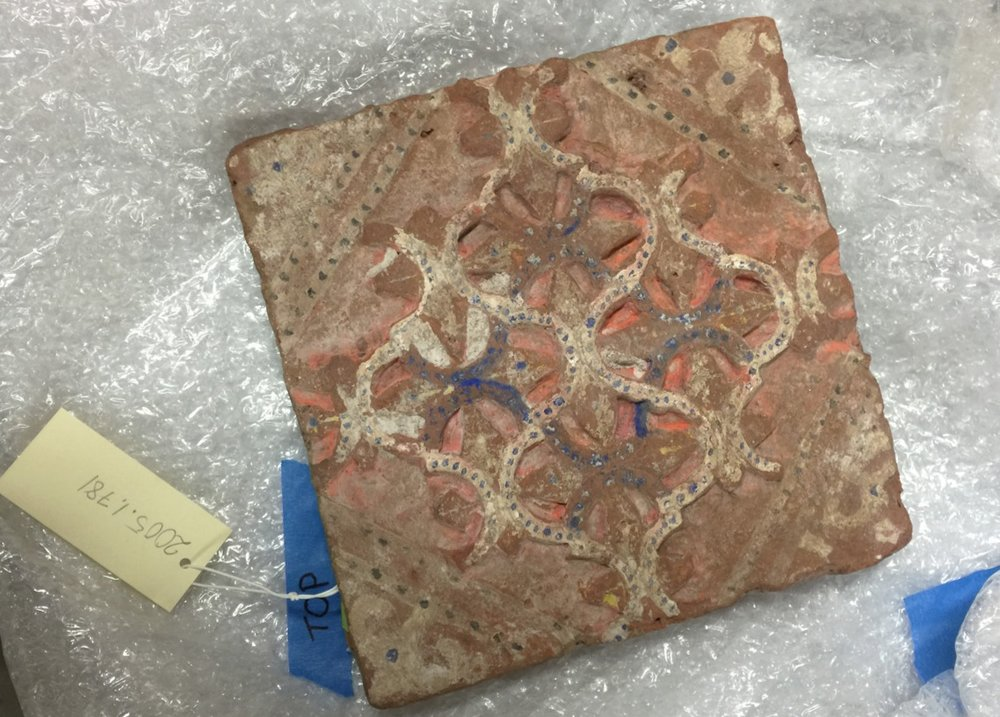 Ancient Roman Tile. Delicately unpacked to be careful set up in a light box and photographed.