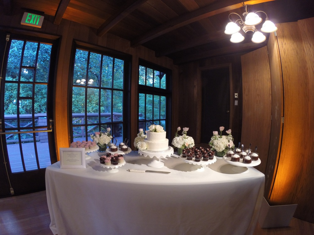 Station lighting draws attention to this dessert station and makes it easy to use.