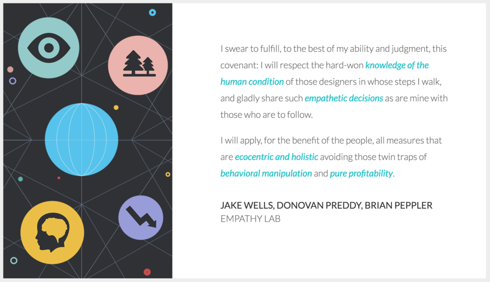 Visit  Designer's Oath  for more examples and tools to create your own oath.