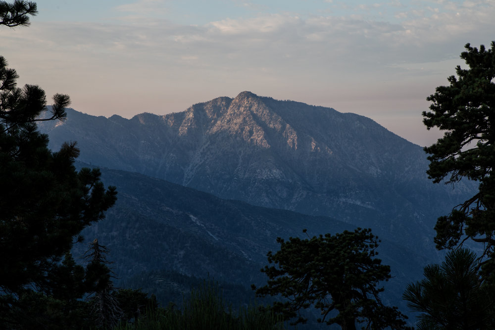We arrived at the Grassy Hollow Visitor Center where we parked our car and began to walk down the highway to get to the trailhead at 06:32 AM. The sun was still coming up over the mountains.