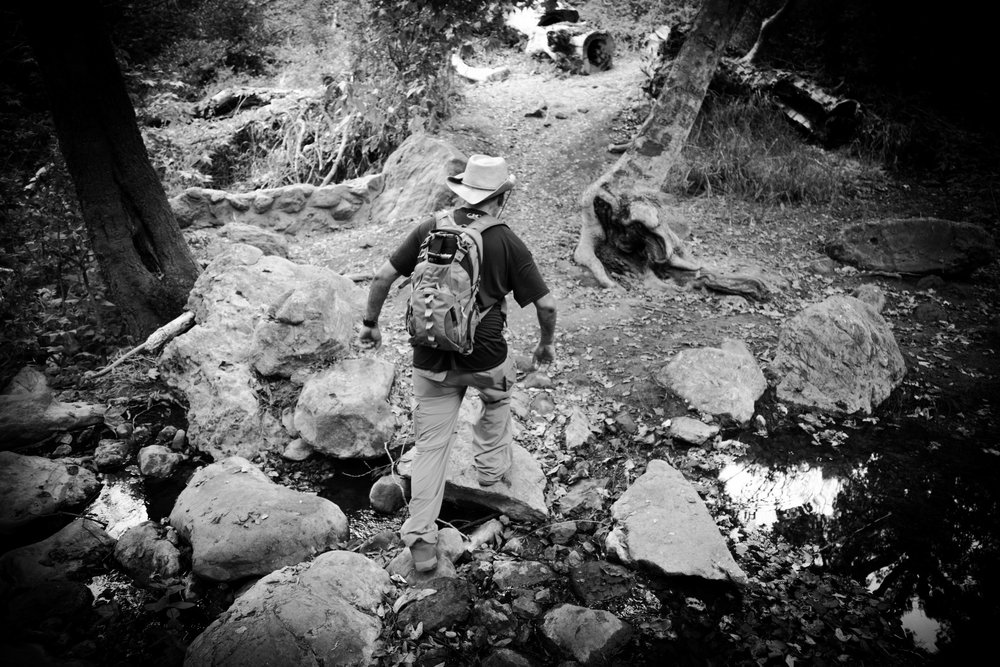 Rock hopping over the creek - Sostomo Trail