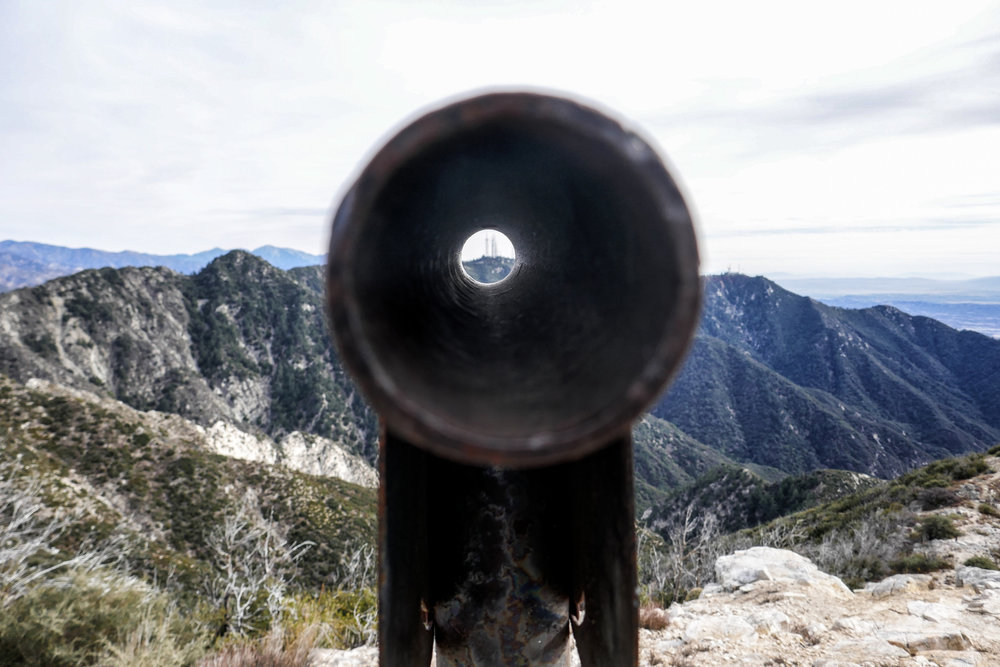 Looking through the viewing tube at Mount Wilson.