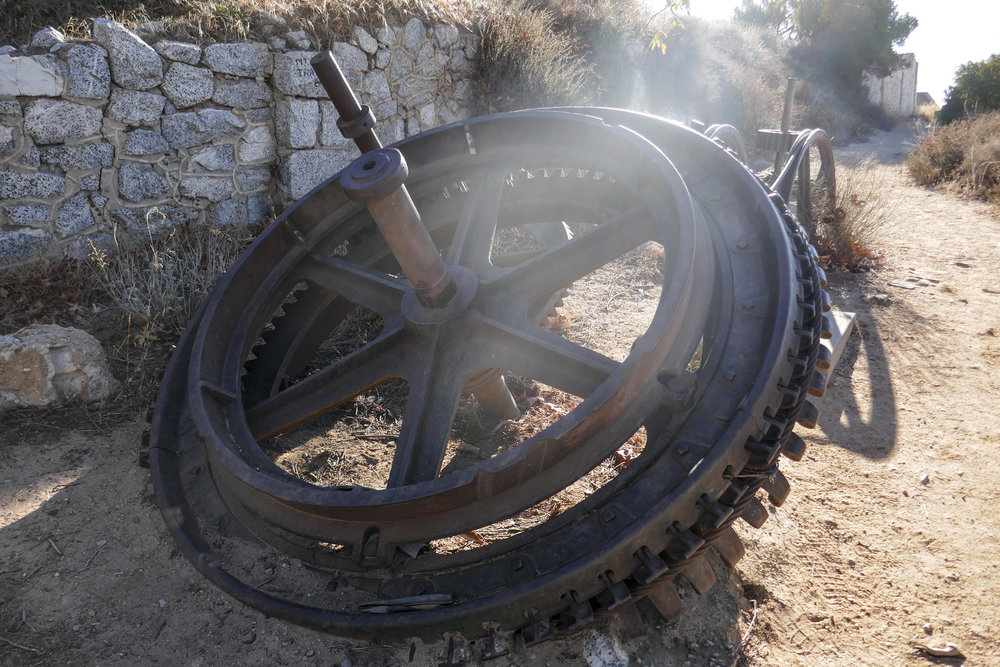 This is the bull wheel that would pull the funicular up the mountain.
