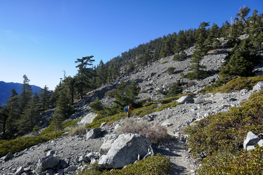 Crossing the Baldy Bowl.
