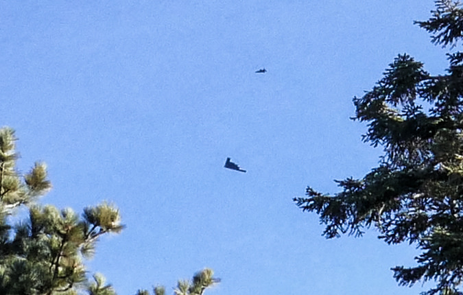 At about 8:15 am we got to see the stealth bomber and its escorts fly over Angeles National Forest.  It was awesome!