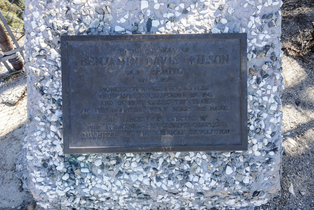 There is a plaque dedicated to Benjamin Davis Wilson in the lower parking lot.