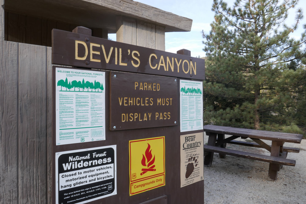 The sign for Devil's Canyon is easy to spot along Angeles Crest Highway.
