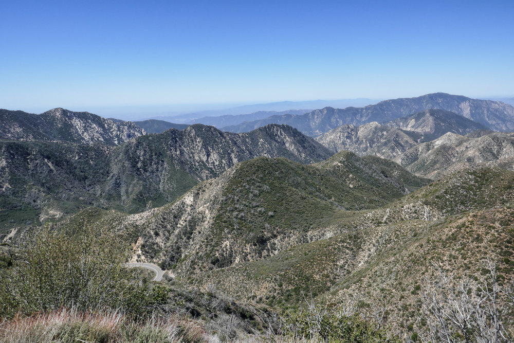 You can see the Angeles Crest Highway just off to the left here.  It was a weekday so it was mostly quiet unlike weekends when people are driving on it like a speedway.  Be careful crossing it to get to the trail!