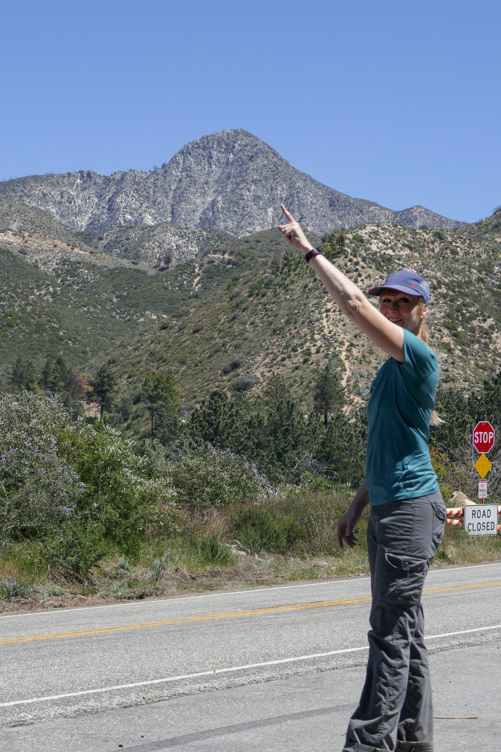 That's me pointing at the mountain we just climbed.  :D