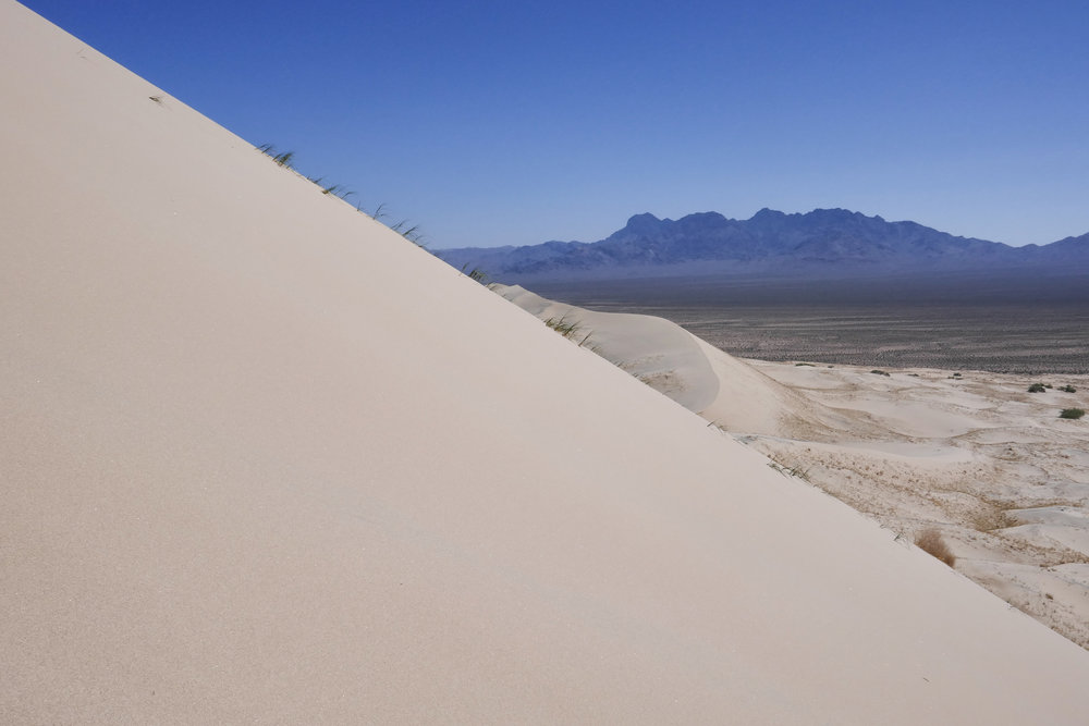 """This is my view as I slid down the dunes all the way from the top which made them """"boom"""" or """"sing"""". Only 30 other dunes in the world can do this. It was pretty amazing to experience."""