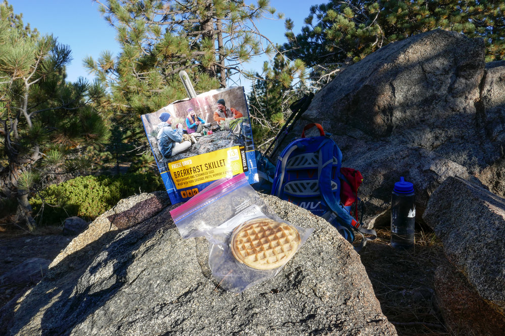 Breakfast is served!  I brought along some Eggos to accompany our breakfast in a bag which was actually better then I thought it would be.  I might go as far to say it was actually pretty good!