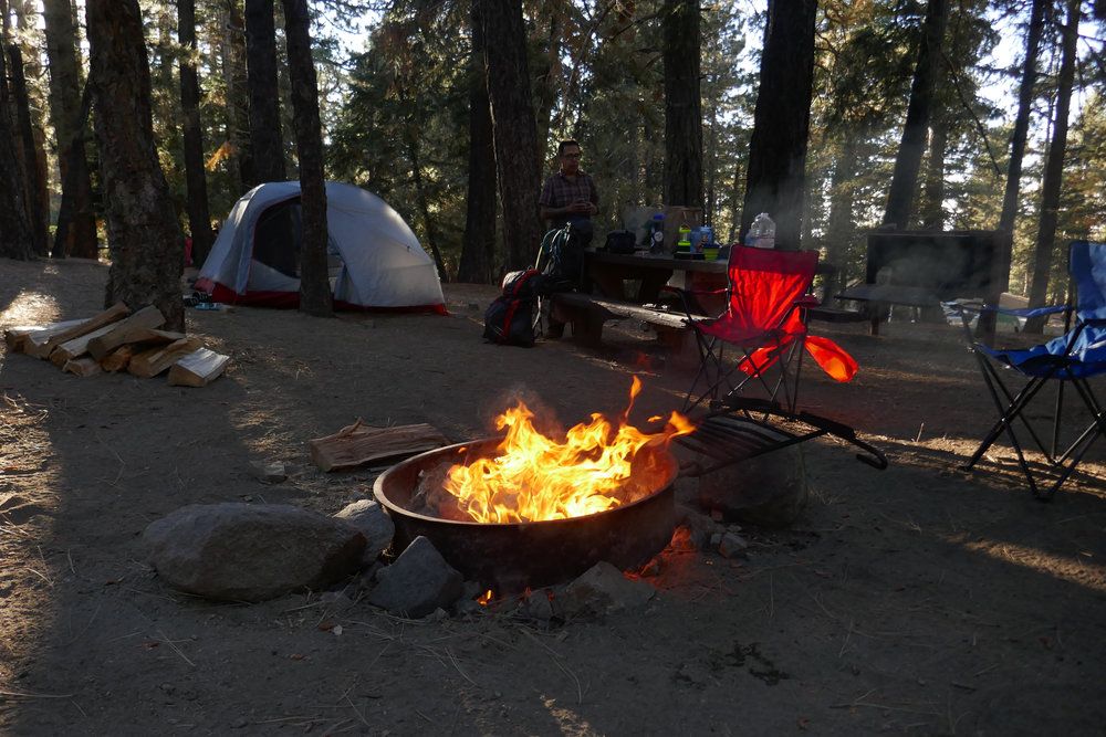 We arrived around 4 pm, set up the tent and built a fire.