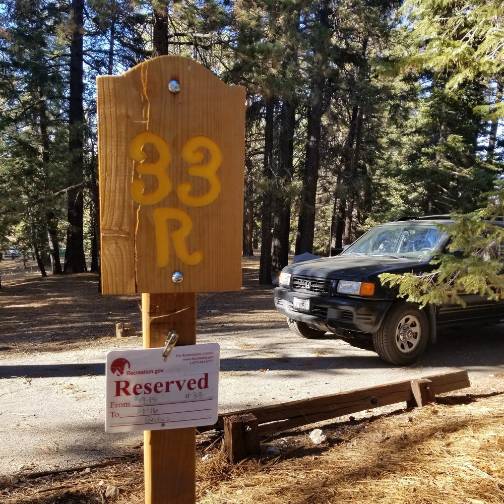 We reserved a spot ahead of time. Broken Blade Campsite #033.
