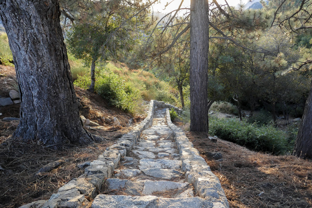 We started our hike from the Red Box picnic area on the Gabrielino Trail East by going down down these steep stone steps.