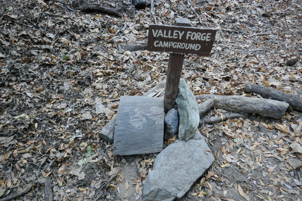 We passed a sign to let us know we were heading in the right direction to Valley Forge Trail camp.